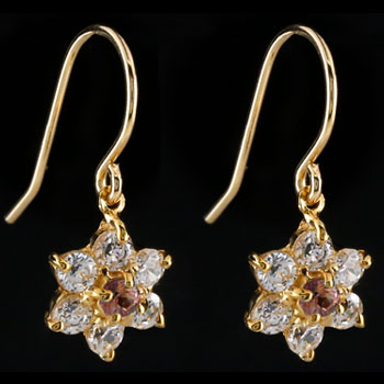 ダイヤモンド ガーネットピアス フラワー 花 フックピアス イエローゴールドk18 レディース