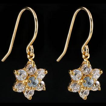 ダイヤモンド アクアマリン ピアス フラワー 花 フックピアス イエローゴールドk18 レディース