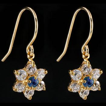 ダイヤモンド サファイア ピアス フラワー 花 フックピアス イエローゴールドk18 レディース