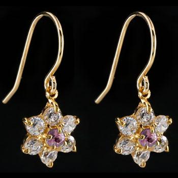 ダイヤモンド ピンクサファイア ピアス フラワー 花 フックピアス イエローゴールドk18 レディース
