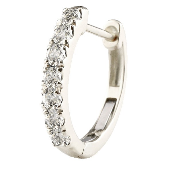 プラチナ 天然ダイヤモンド  ピアス 片耳 フープピアス 4月誕生石 天然石 ダイヤpt900 レディース