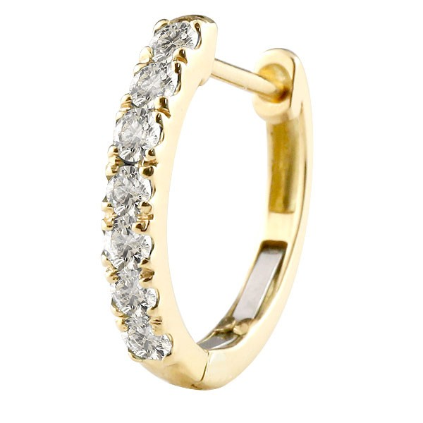 天然ダイヤモンド 片耳 フープピアス イエローゴールドk10 中折れ式ピアス 4月誕生石 天然石 ダイヤ10金 レディース