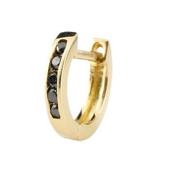 フープピアス ダイヤモンド 中折れ式ピアス イエローゴールドk18 ダイヤ レディース