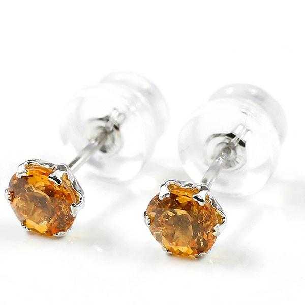 一粒 ピアス オレンジガーネット スタッドピアス ホワイトゴールドk10 10金 天然石 レディース