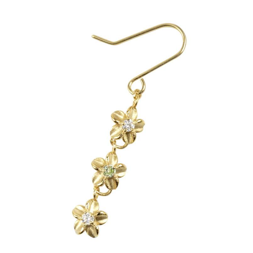 ハワイアンジュエリー ピアス イエローゴールドk18 フックピアス プルメリア ロングピアス ペリドット ダイヤモンド 花 フラワー 8月誕生石 ピアス シンプル