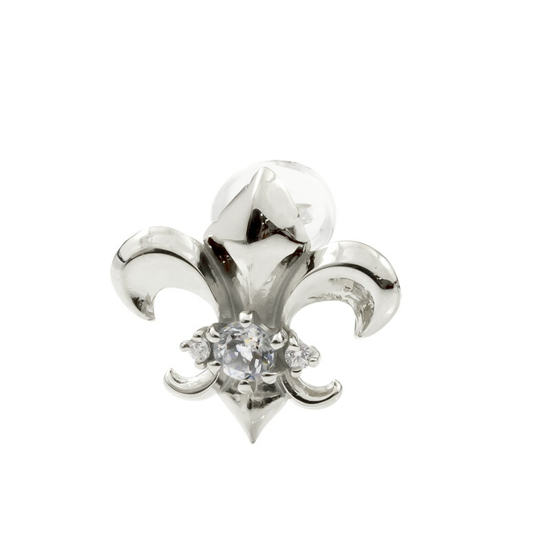 メンズ 片耳ピアス ホワイトゴールドk18 ユリの紋章 ダイヤモンド スタッドピアス 18金 フルール・ド・リス 男性用