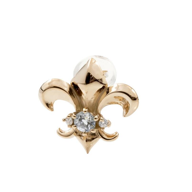 メンズ 片耳ピアス ピンクゴールドk18 ユリの紋章 ダイヤモンド スタッドピアス 18金 フルール・ド・リス 男性用
