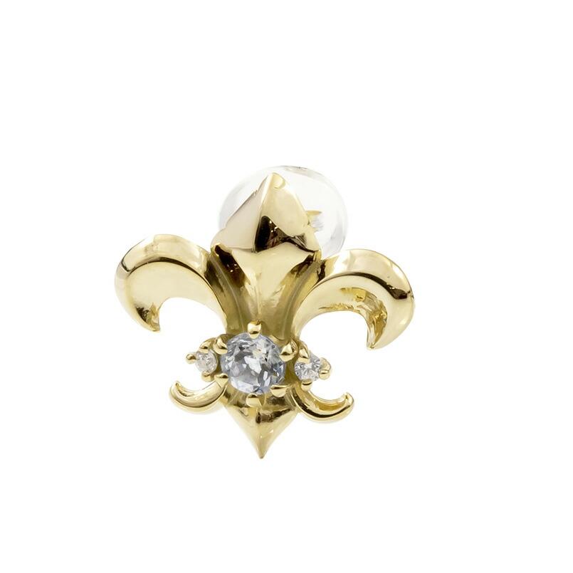 メンズ 片耳ピアス イエローゴールドk18 ユリの紋章 ダイヤモンド スタッドピアス 18金 フルール・ド・リス 男性用