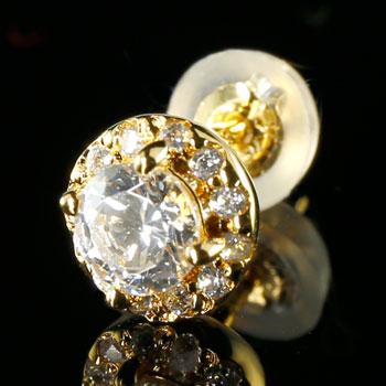 片耳ピアス ダイヤモンド ピアス 大粒ダイヤ 取り巻きピアス イエローゴールドk18
