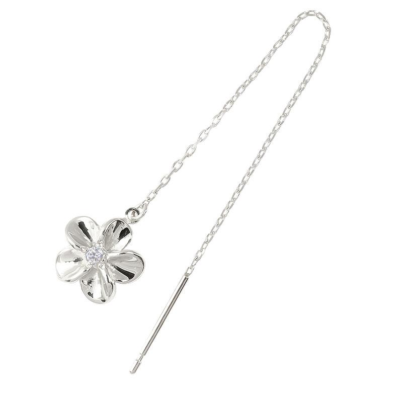 ハワイアン プラチナ 片耳ピアス アメリカン ロングピアス ダイヤモンド 花 フラワー ピアス 揺れる