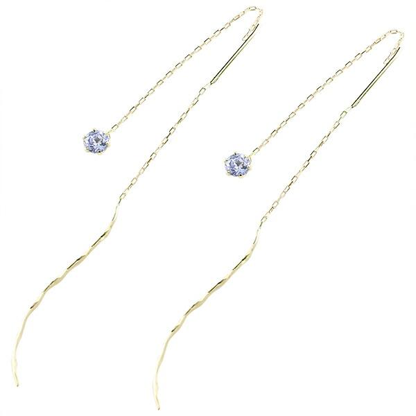 落ちないピアス アメリカンピアス ピアス タンザナイト イエローゴールドk18 地金 シンプル レディース 18金 ストッピ 宝石