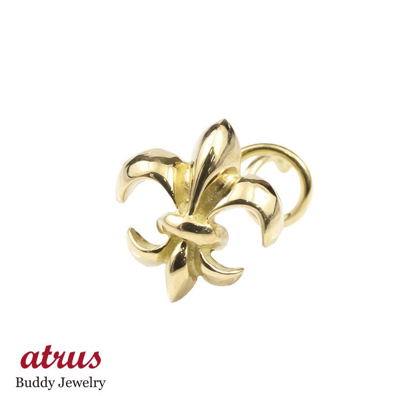 メンズ キャッチのいらないピアス 片耳ピアス イエローゴールドk18 ユリの紋章 シンプル 地金 男性用 キャッチナッシャー 18金 フルール・ド・リス 百合
