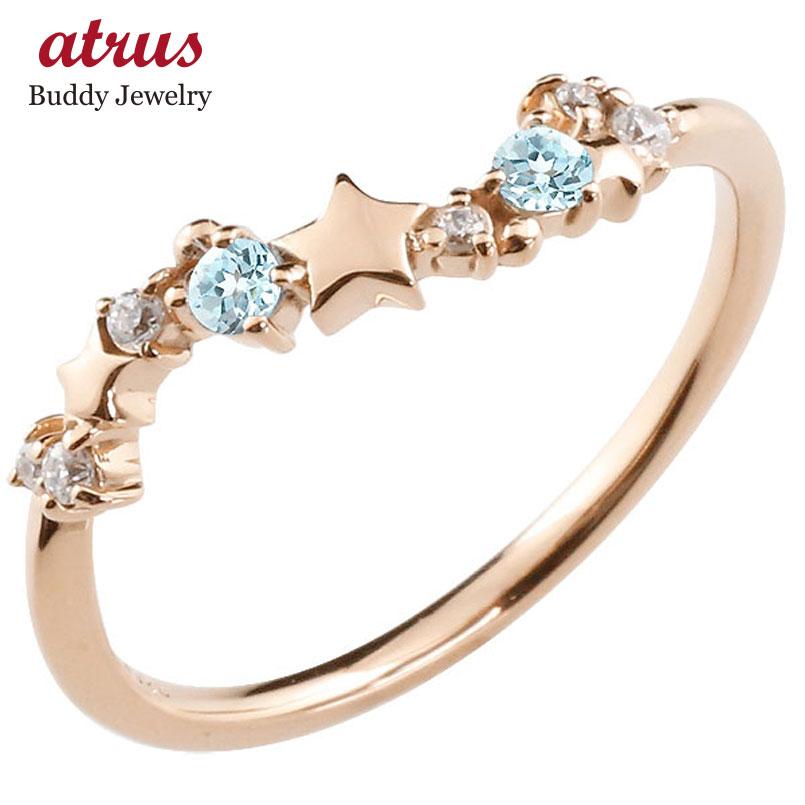 星 スター リング ブルートパーズ ダイヤモンド ピンクゴールドk10 ピンキーリング 指輪 華奢リング 重ね付け 10金 レディース 11月誕生石