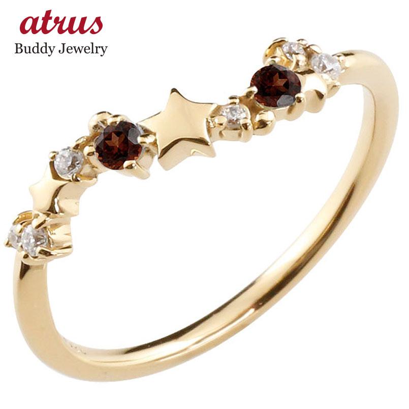 星 スター リング ガーネット ダイヤモンド イエローゴールドk10 ピンキーリング 指輪 華奢リング 重ね付け 10金 レディース 1月誕生石