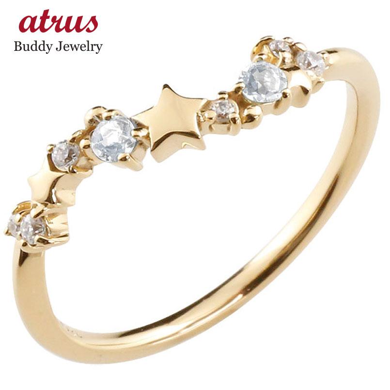 星 スター リング ブルームーンストーン ダイヤモンド イエローゴールドk10 ピンキーリング 指輪 華奢リング 重ね付け 10金 レディース 6月誕生石