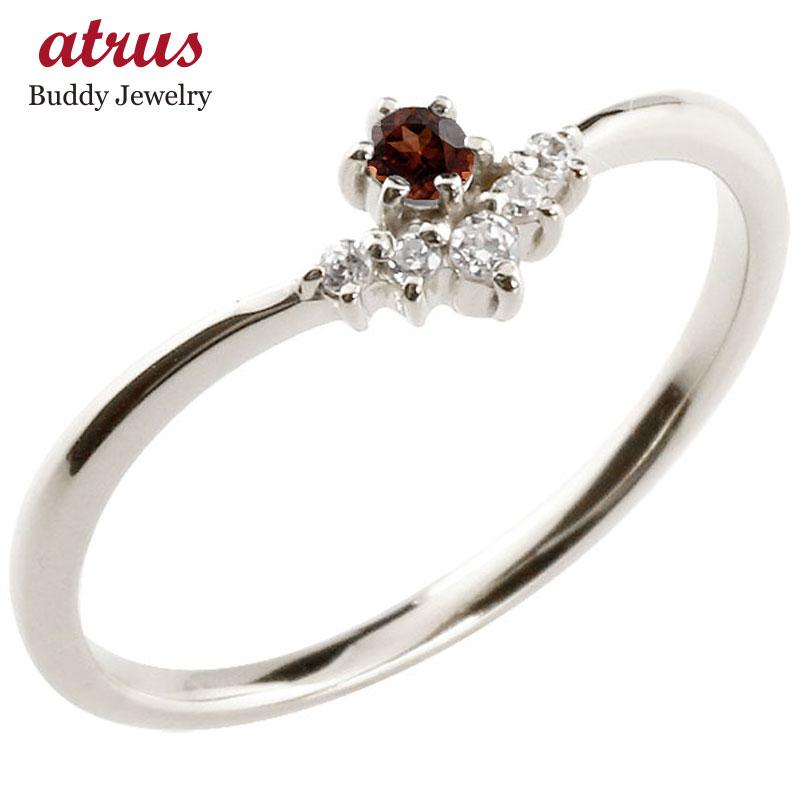 リング ガーネット ダイヤモンド ホワイトゴールドk18 ピンキーリング 指輪 華奢リング 重ね付け 18金 レディース 1月誕生石