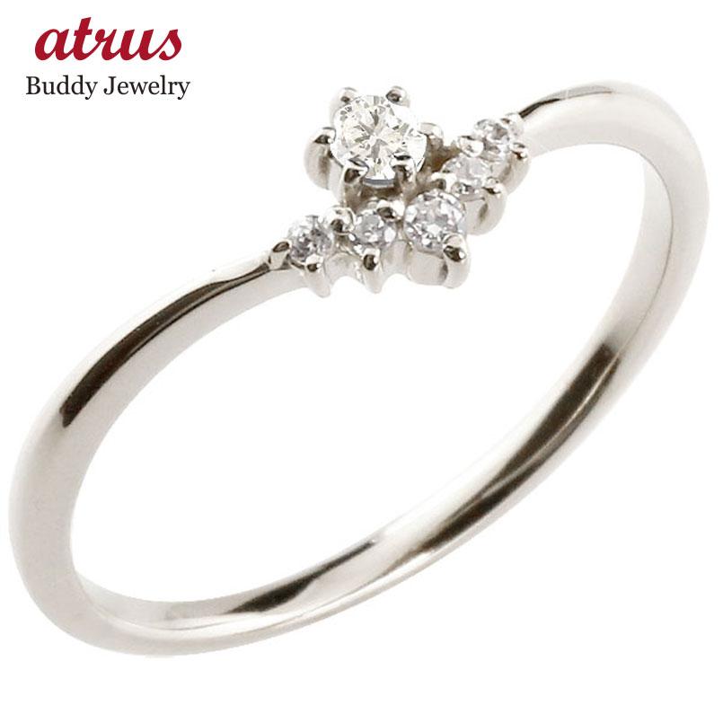リング ダイヤモンド ダイヤモンド ホワイトゴールドk18 ピンキーリング 指輪 華奢リング 重ね付け 18金 レディース 4月誕生石