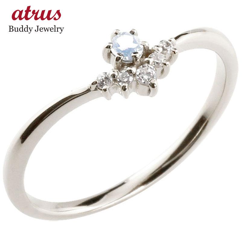 リング ブルームーンストーン ダイヤモンド ホワイトゴールドk10 ピンキーリング 指輪 華奢リング 重ね付け 10金 レディース 6月誕生石