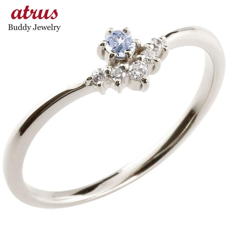 リング タンザナイト ダイヤモンド ホワイトゴールドk18 ピンキーリング 指輪 華奢リング 重ね付け 18金 レディース 12月誕生石