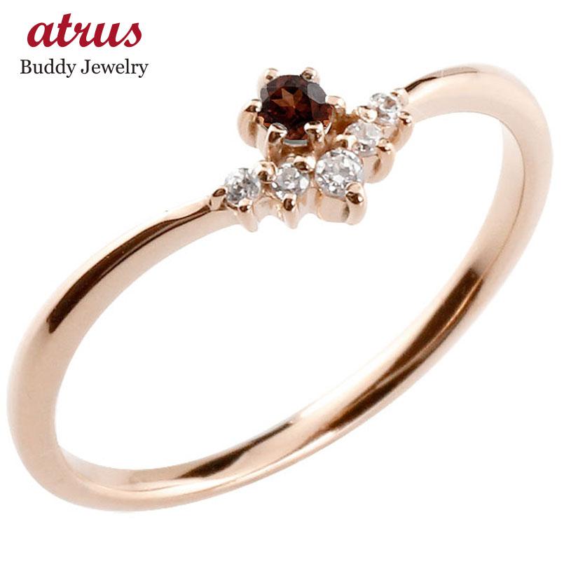 リング ガーネット ダイヤモンド ピンクゴールドk10 ピンキーリング 指輪 華奢リング 重ね付け 10金 レディース 1月誕生石