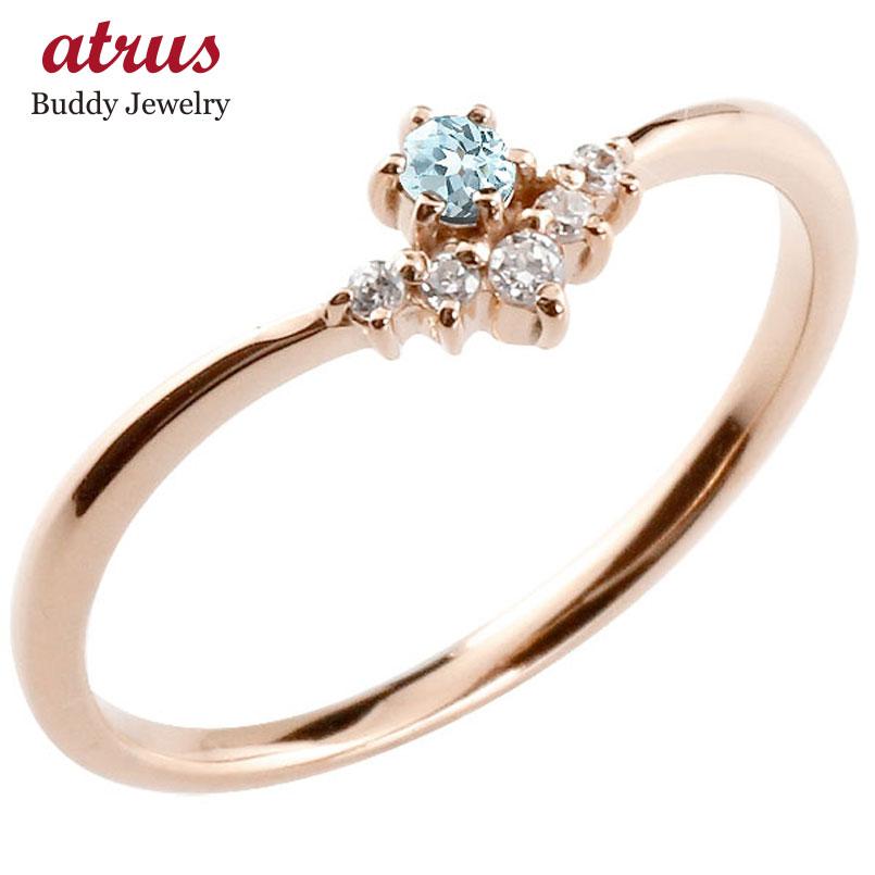 リング ブルートパーズ ダイヤモンド ピンクゴールドk10 ピンキーリング 指輪 華奢リング 重ね付け 10金 レディース 11月誕生石