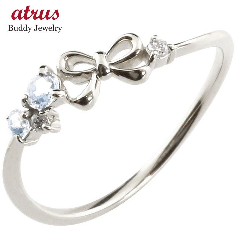 リボン リング ブルームーンストーン ダイヤモンド ホワイトゴールドk18 ピンキーリング 指輪 華奢リング 重ね付け 18金 レディース 6月誕生石