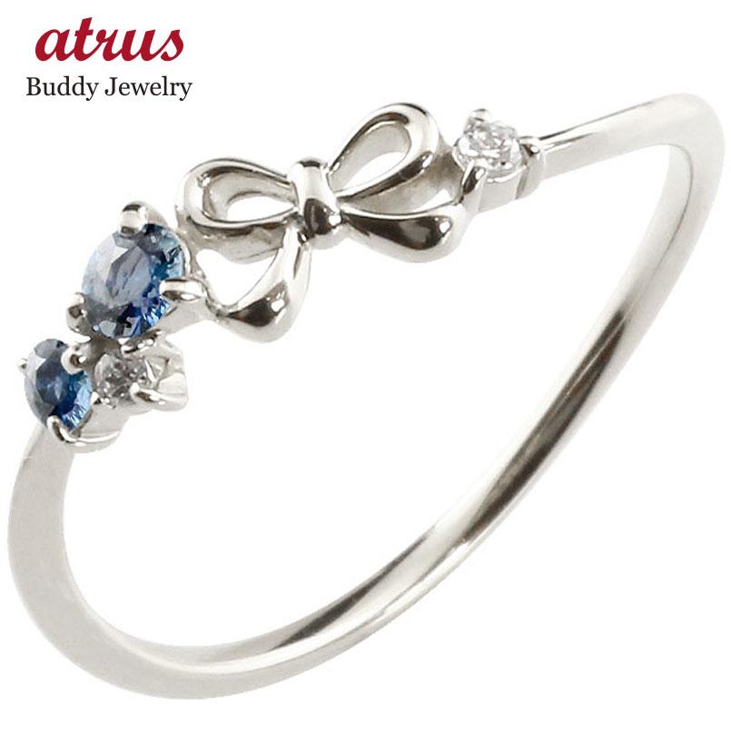リボン リング サファイア ダイヤモンド ホワイトゴールドk10 ピンキーリング 指輪 華奢リング 重ね付け 10金 レディース 9月誕生石