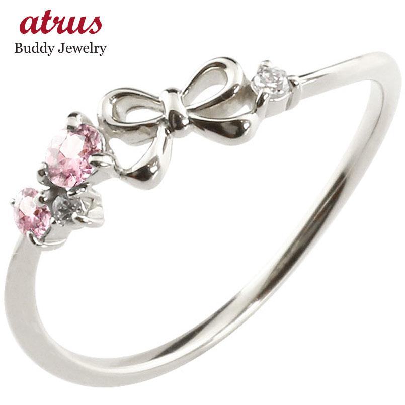 リボン リング ピンクトルマリン ダイヤモンド ホワイトゴールドk18 ピンキーリング 指輪 華奢リング 重ね付け 18金 レディース 10月誕生石