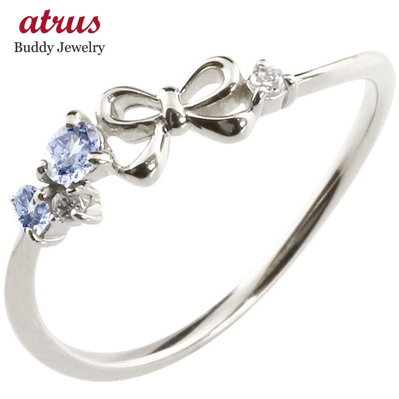 リボン リング タンザナイト ダイヤモンド ホワイトゴールドk18 ピンキーリング 指輪 華奢リング 重ね付け 18金 レディース 12月誕生石