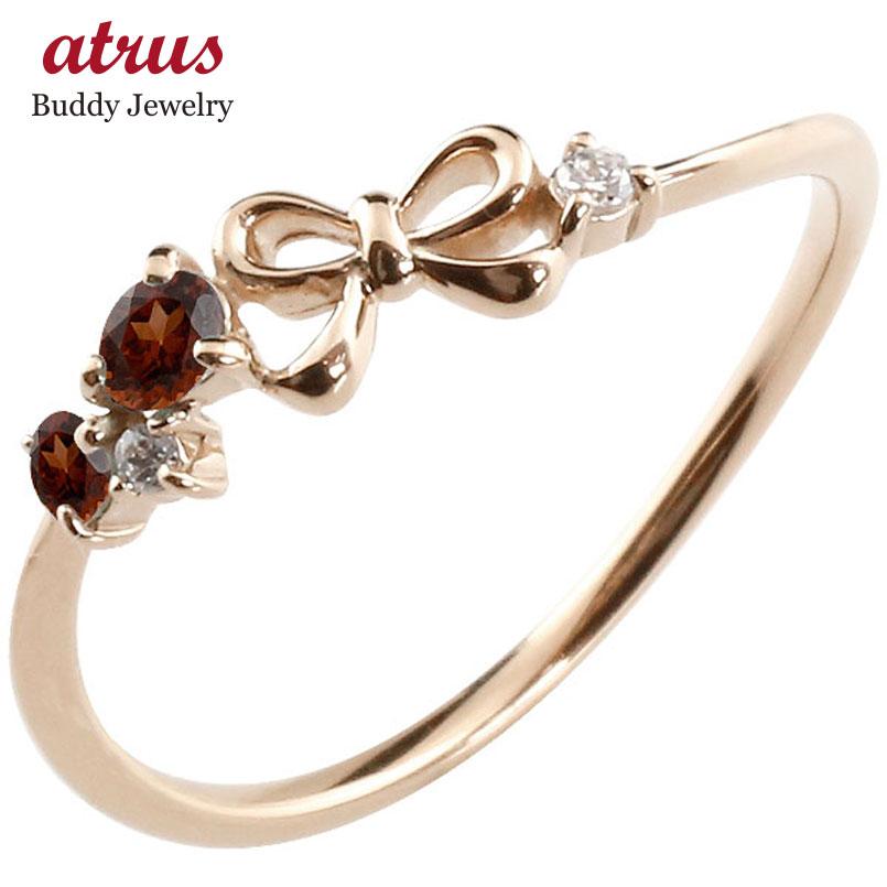 リボン リング ガーネット ダイヤモンド ピンクゴールドk18 ピンキーリング 指輪 華奢リング 重ね付け 18金 レディース 1月誕生石