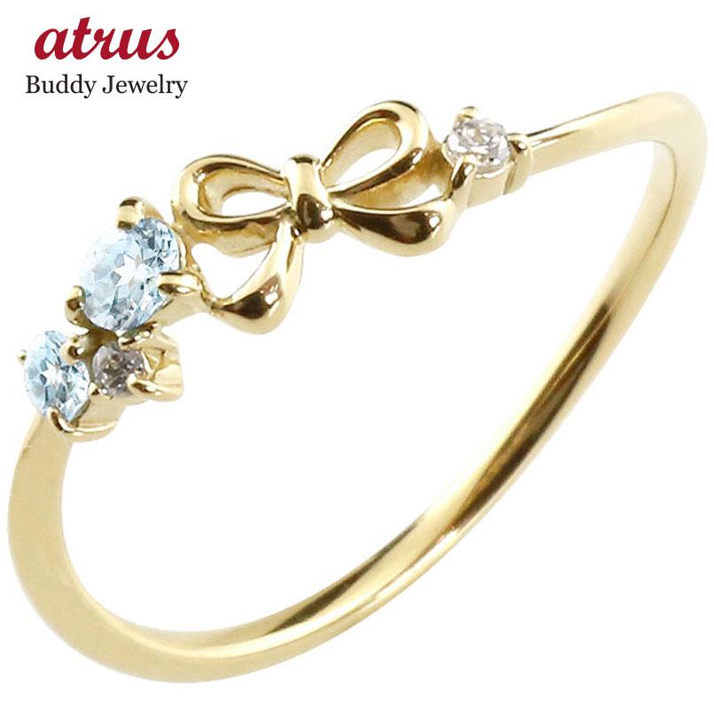 リボン リング ブルートパーズ ダイヤモンド イエローゴールドk18 ピンキーリング 指輪 華奢リング 重ね付け 18金 レディース 11月誕生石