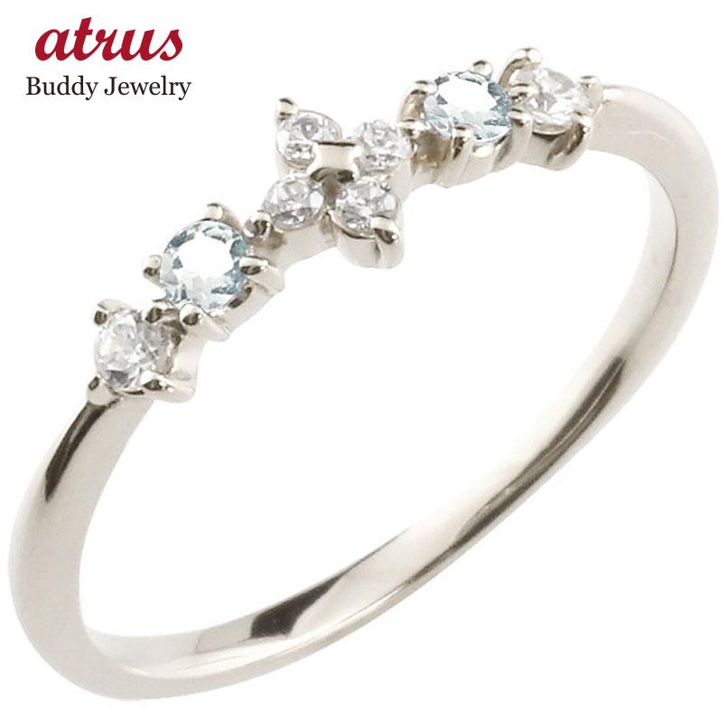 フラワー 花リング アクアマリン ダイヤモンド ホワイトゴールドk10 ピンキーリング 指輪 華奢リング 重ね付け 10金 レディース 3月誕生石