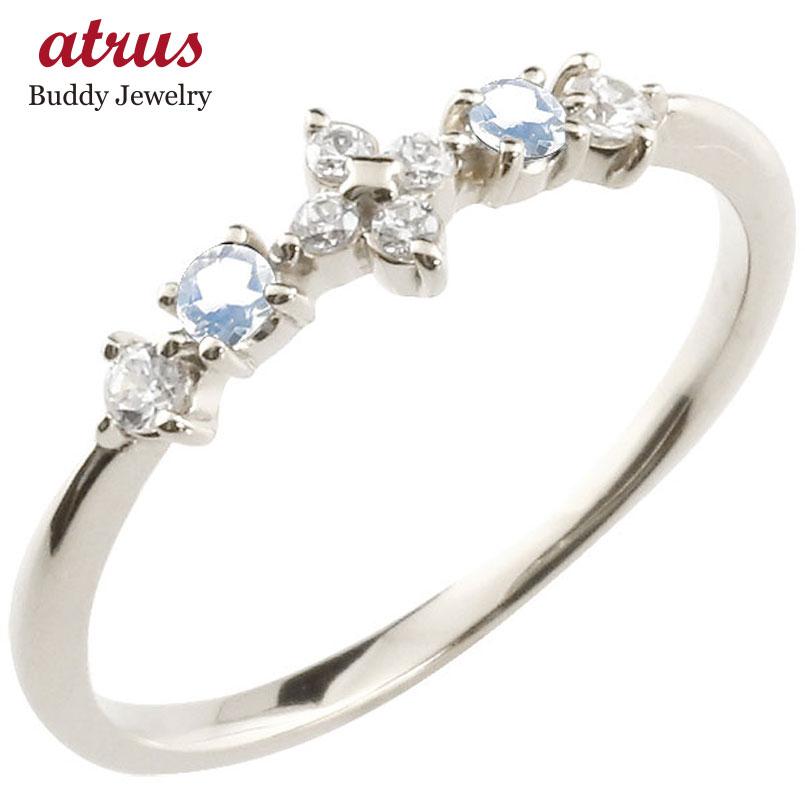 フラワー 花リング ブルームーンストーン ダイヤモンド ホワイトゴールドk18 ピンキーリング 指輪 華奢リング 重ね付け 18金 レディース 6月誕生石