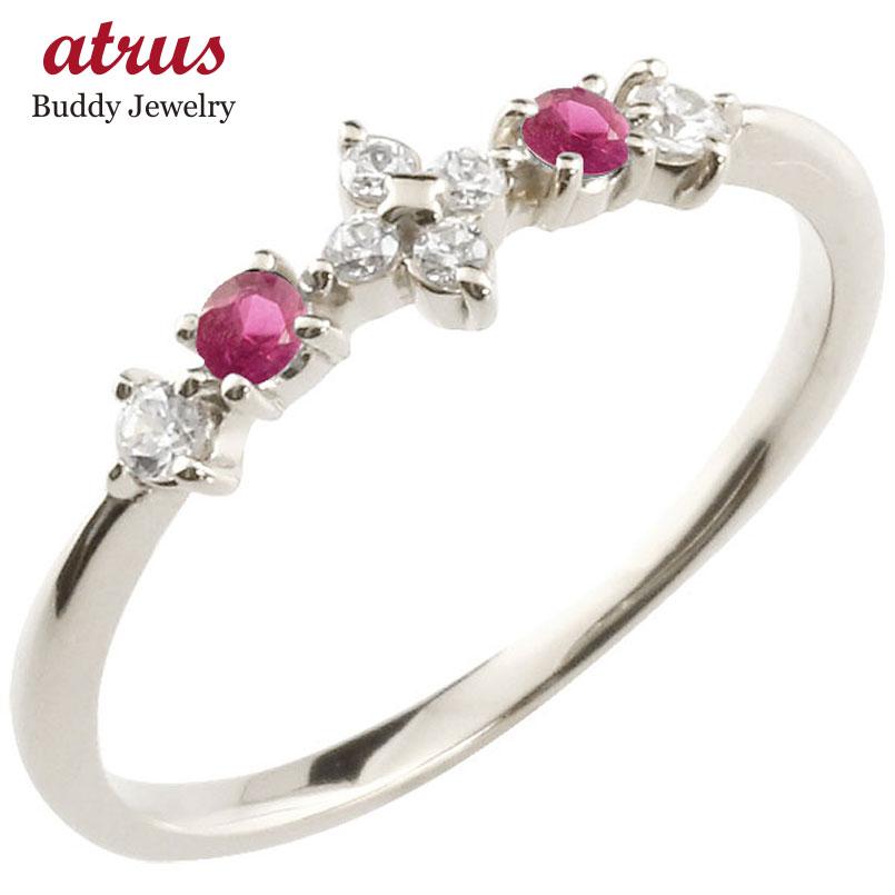 フラワー 花プラチナリング ルビー ダイヤモンド ピンキーリング 指輪 華奢リング 重ね付け pt900 レディース 7月誕生石