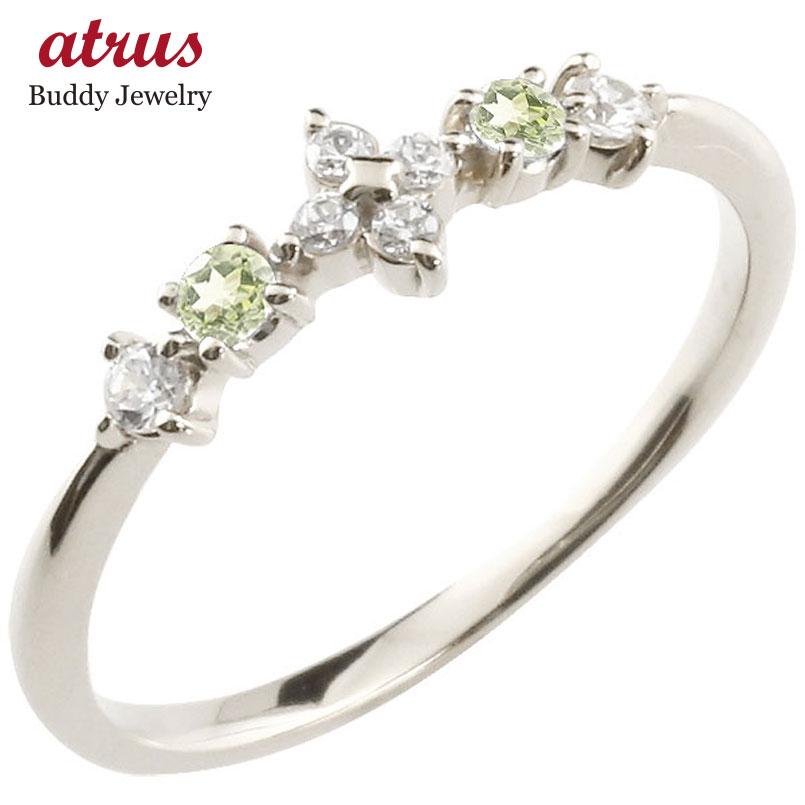 フラワー 花リング ペリドット ダイヤモンド ホワイトゴールドk10 ピンキーリング 指輪 華奢リング 重ね付け 10金 レディース 8月誕生石