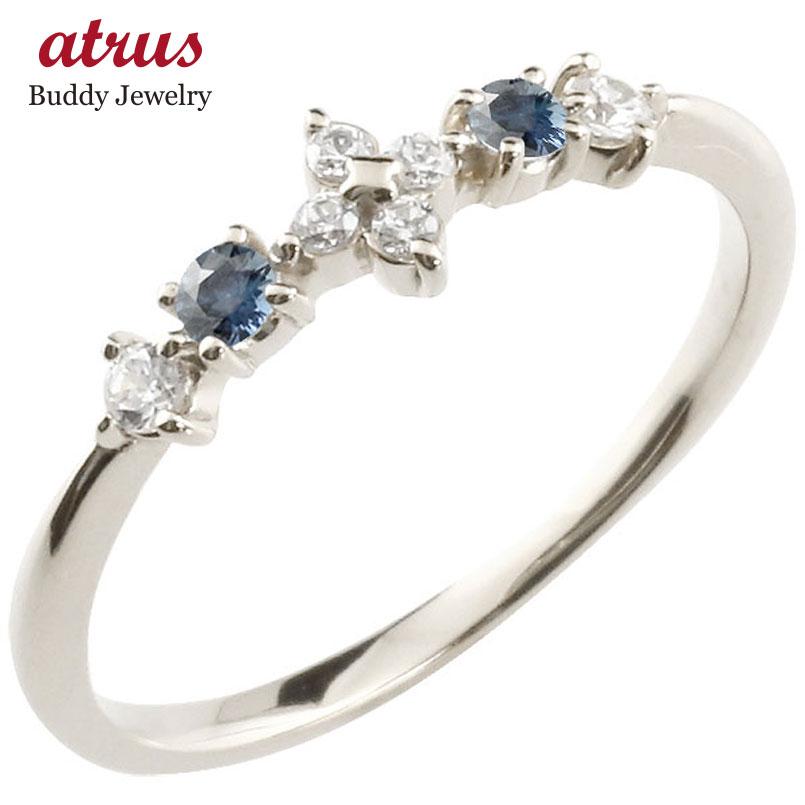 フラワー 花リング サファイア ダイヤモンド ホワイトゴールドk18 ピンキーリング 指輪 華奢リング 重ね付け 18金 レディース 9月誕生石