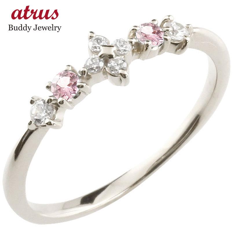 フラワー 花リング ピンクトルマリン ダイヤモンド ホワイトゴールドk10 ピンキーリング 指輪 華奢リング 重ね付け 10金 レディース 10月誕生石