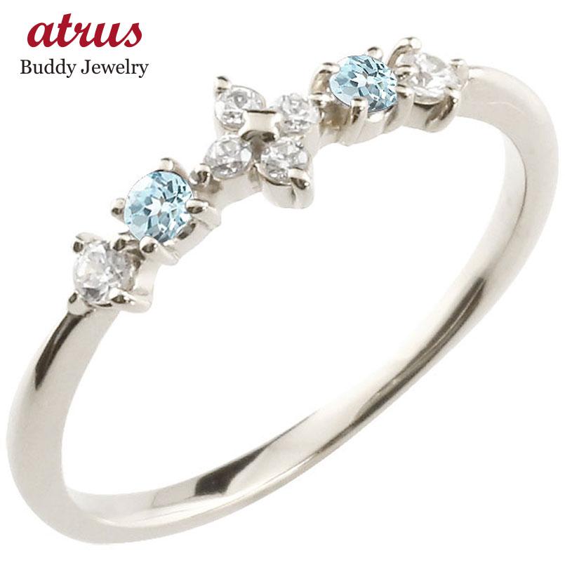 フラワー 花プラチナリング ブルートパーズ ダイヤモンド ピンキーリング 指輪 華奢リング 重ね付け pt900 レディース 11月誕生石