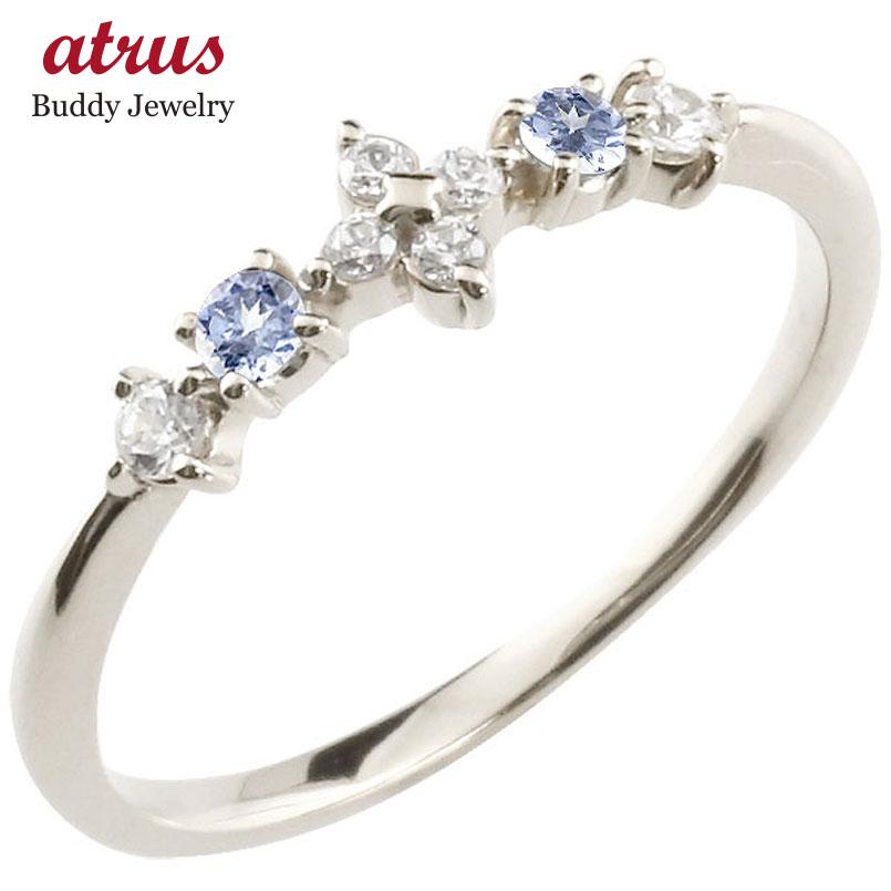 フラワー 花リング タンザナイト ダイヤモンド ホワイトゴールドk10 ピンキーリング 指輪 華奢リング 重ね付け 10金 レディース 12月誕生石