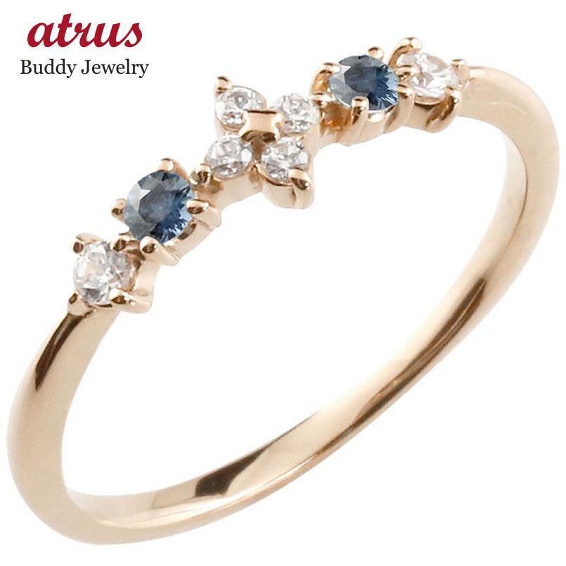 フラワー 花リング サファイア ダイヤモンド ピンクゴールドk18 ピンキーリング 指輪 華奢リング 重ね付け 18金 レディース 9月誕生石