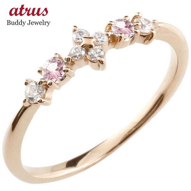 フラワー 花リング ピンクトルマリン ダイヤモンド ピンクゴールドk18 ピンキーリング 指輪 華奢リング 重ね付け 18金 レディース 10月誕生石