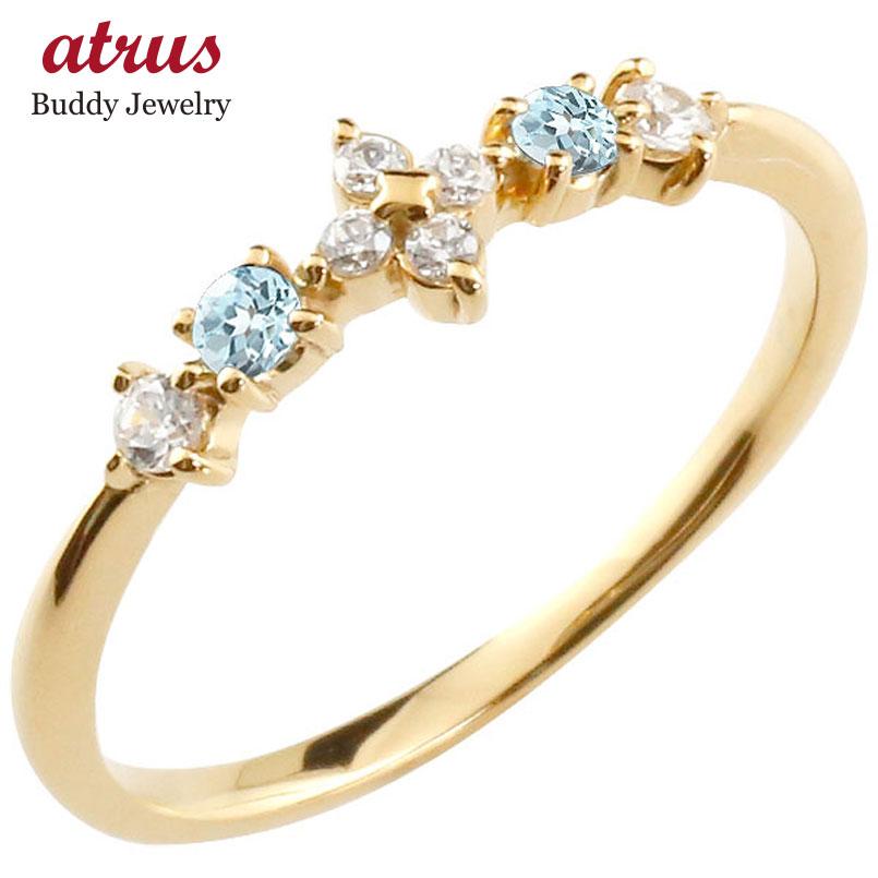 フラワー 花リング ブルートパーズ ダイヤモンド イエローゴールドk10 ピンキーリング 指輪 華奢リング 重ね付け 10金 レディース 11月誕生石