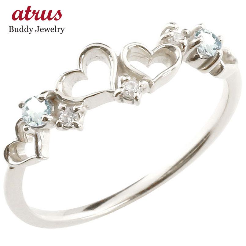 オープンハート リング アクアマリン ダイヤモンド ピンキーリング 指輪 ホワイトゴールドk18 華奢リング 重ね付け 18金 レディース 3月誕生石