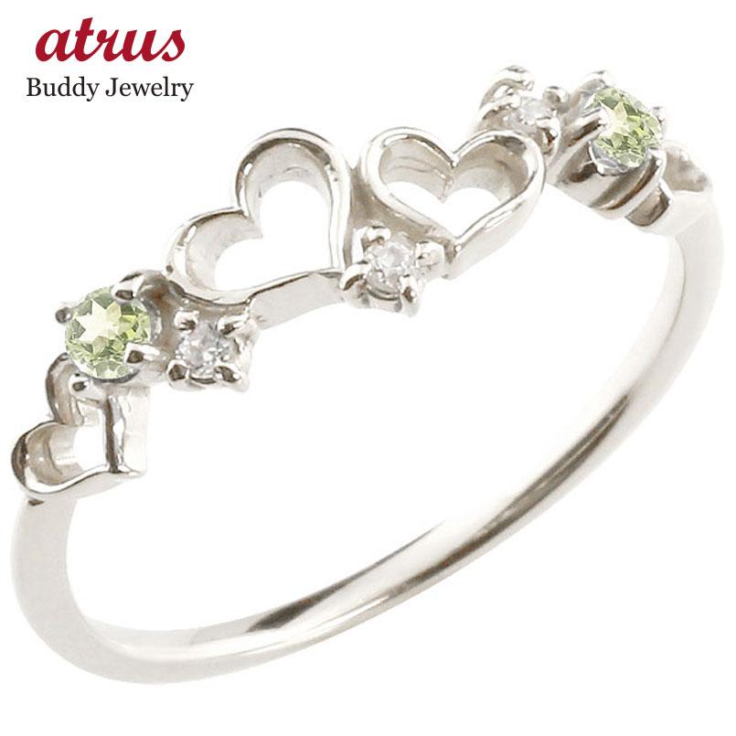 オープンハート プラチナリング ペリドット ダイヤモンド ピンキーリング 指輪 華奢リング 重ね付け pt900 レディース 8月誕生石