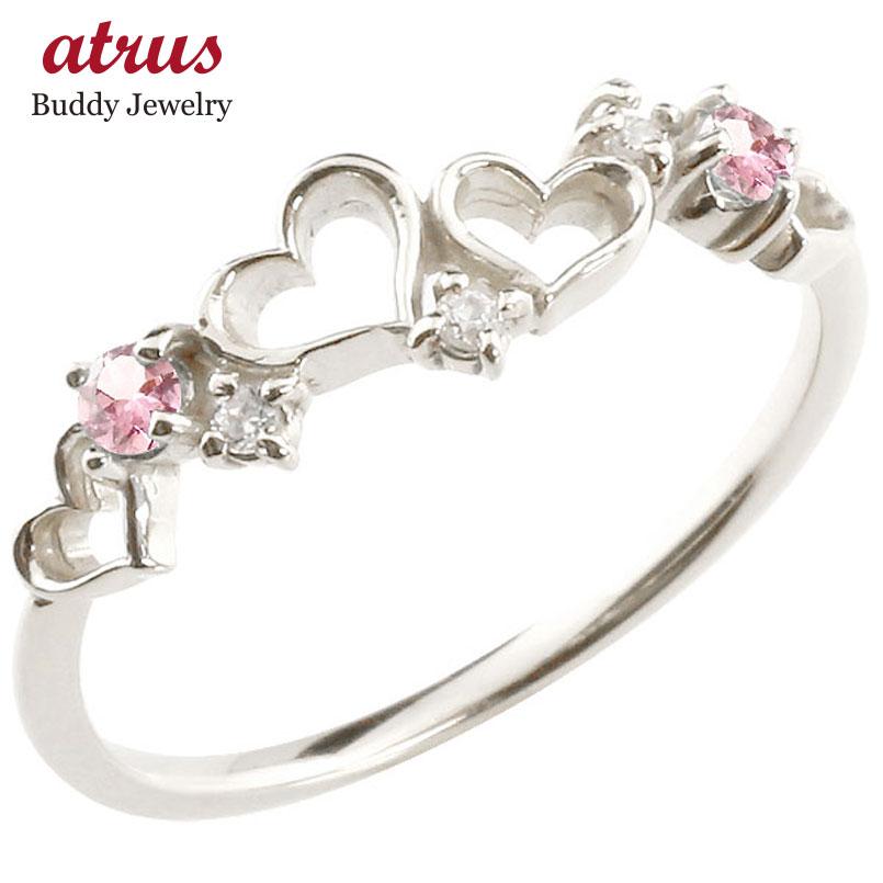 オープンハート シルバーリング ピンクトルマリン ダイヤモンド ピンキーリング 指輪 華奢リング 重ね付け sv レディース 10月誕生石