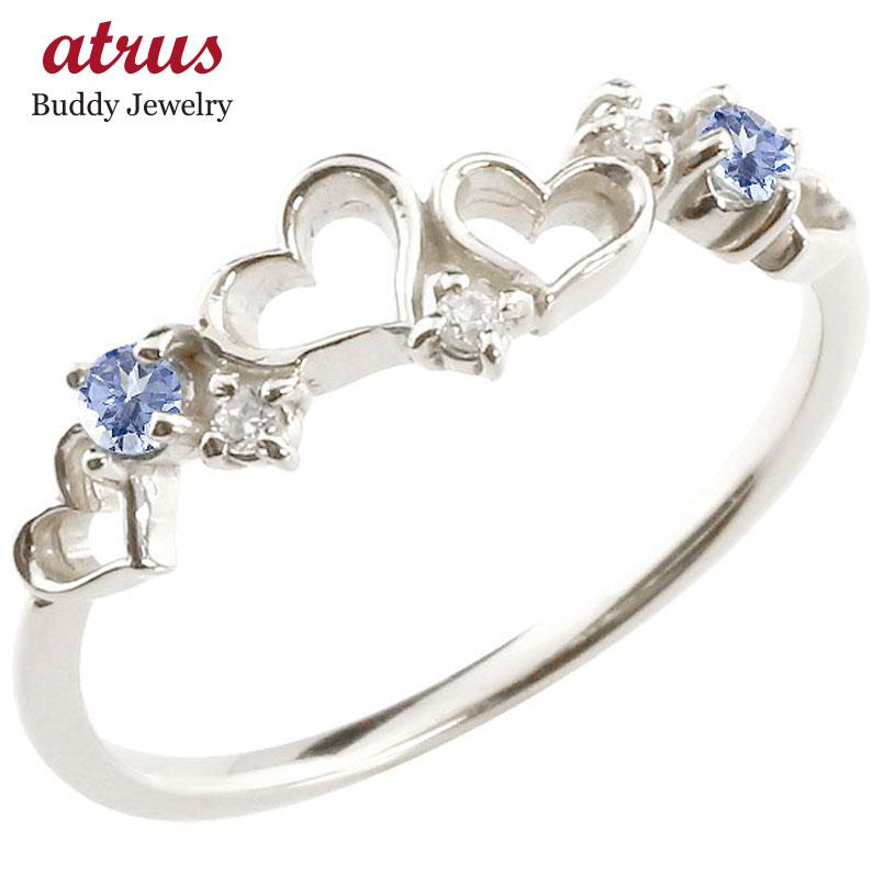 オープンハート リング タンザナイト ダイヤモンド ピンキーリング 指輪 ホワイトゴールドk10 華奢リング 重ね付け 10金 レディース 12月誕生石