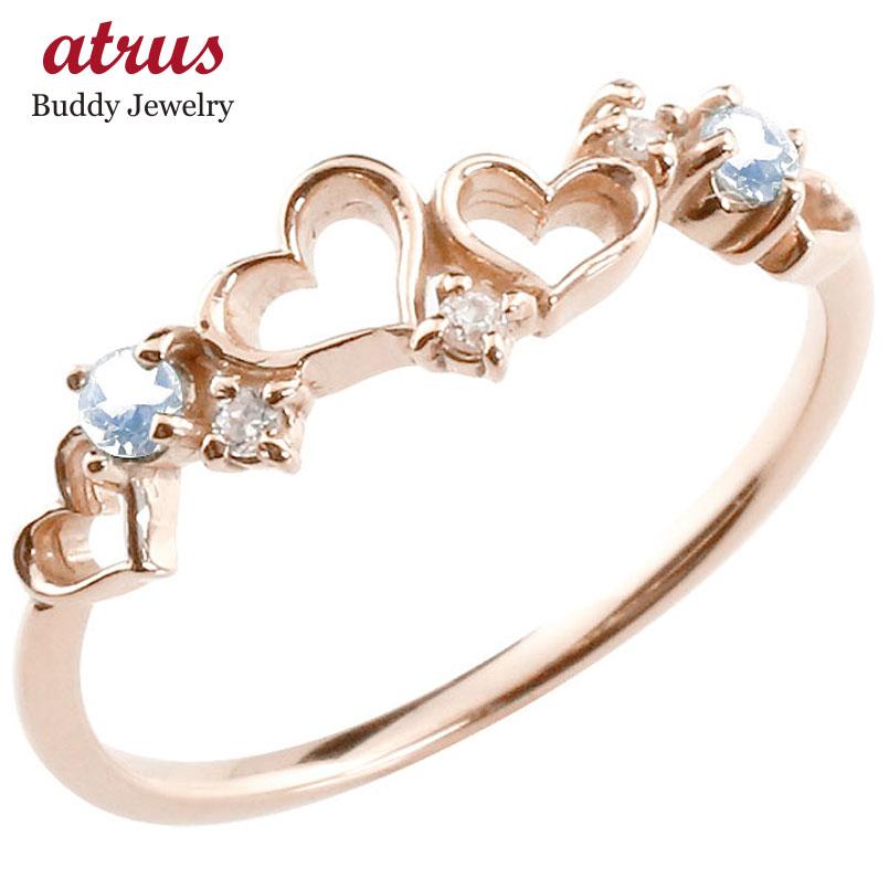 オープンハート リング ブルームーンストーン ダイヤモンド ピンキーリング 指輪 ピンクゴールドk18 華奢リング 重ね付け 18金 レディース 6月誕生石