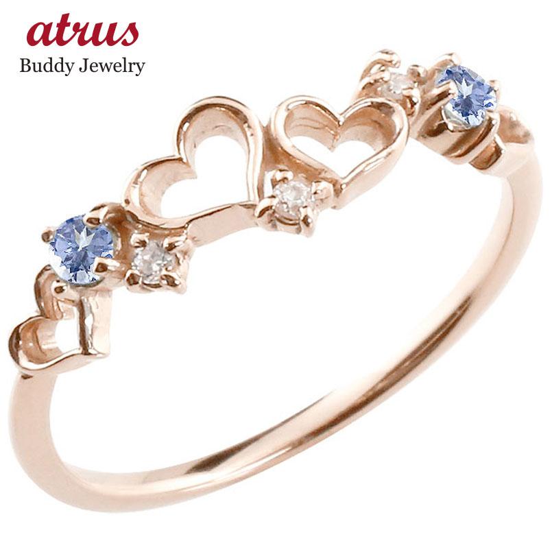 オープンハート リング タンザナイト ダイヤモンド ピンキーリング 指輪 ピンクゴールドk10 華奢リング 重ね付け 10金 レディース 12月誕生石