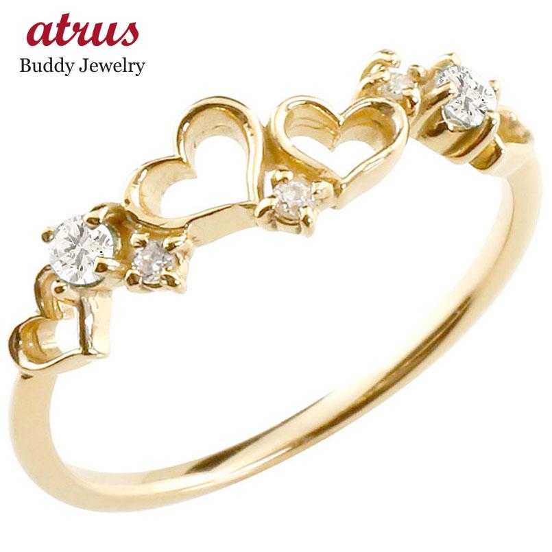 オープンハート リング ダイヤモンドダイヤ ピンキーリング 指輪 イエローゴールドk18 華奢リング 重ね付け 18金 レディース