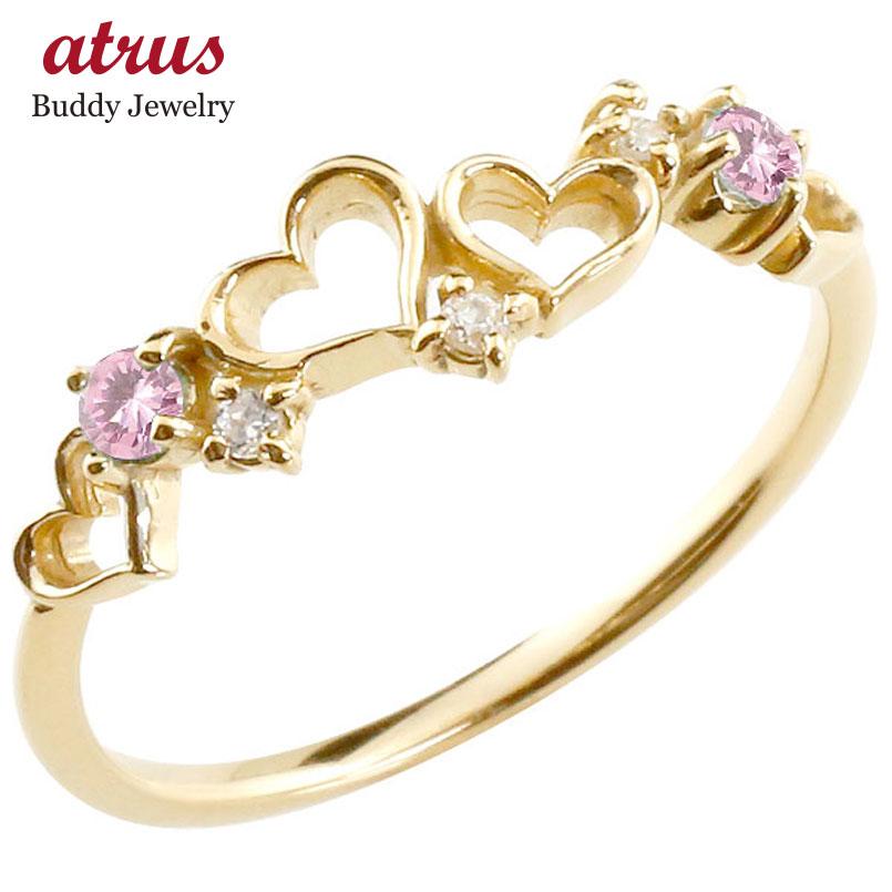 オープンハート リング ピンクサファイア ダイヤモンド ピンキーリング 指輪 イエローゴールドk18 華奢リング 重ね付け 18金 レディース 9月誕生石